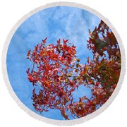 Autumn Trees Art Prints Blue Sky White Clouds Round Beach Towel