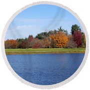 Autumn Trees By The Lake Round Beach Towel