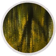 Autumn Water Reflection Abstract I Round Beach Towel