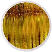 Autumn Water Reflection Abstract II Round Beach Towel