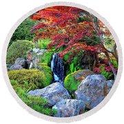 Autumn Waterfall - Digital Art Round Beach Towel