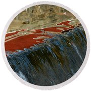 Autumn Waterfall Reflections Round Beach Towel
