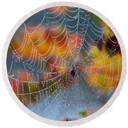 Autumn Web Round Beach Towel
