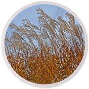 Autumn Wind Through The Grass Round Beach Towel