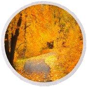 Autumn's Golden Corner Round Beach Towel