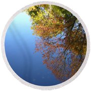 Autumn's Watery Reflection Round Beach Towel
