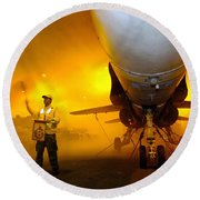 Aviation Boatswains Mate Waves Class Round Beach Towel by Stocktrek Images