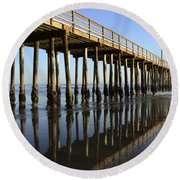 Avila Beach Pier California 2 Round Beach Towel