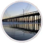 Avila Beach Pier California 3 Round Beach Towel