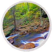 B Reynolds Falls Panorama Round Beach Towel