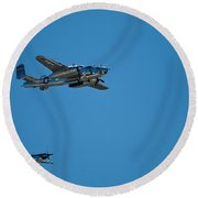 B25 Mitchell Bomber With Corsair Mustang Fighter Escort Round Beach Towel