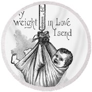 Baby Being Weighed, 1887 Round Beach Towel
