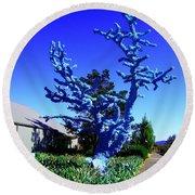 Baby Blue Tree Round Beach Towel
