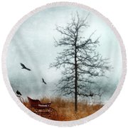 Baby Buggy By Tree With Nest And Birds Round Beach Towel by Jill Battaglia