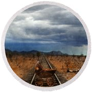 Baby Buggy On Railroad Tracks Round Beach Towel