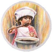 Baby Cook With Chocolade Cream Round Beach Towel