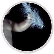 Baby Doll With Feather Round Beach Towel