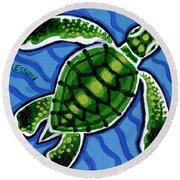 Baby Green Sea Turtle Round Beach Towel