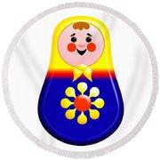 Baby Matrioshka Doll  Round Beach Towel