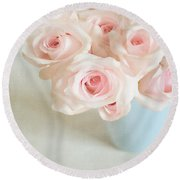 Baby Pink Roses Round Beach Towel