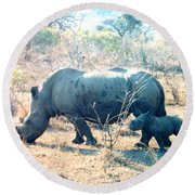 Baby Rhinoceros And Mother Round Beach Towel