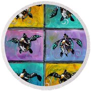 Baby Sea Turtles Six Round Beach Towel by J Vincent Scarpace