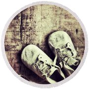 Baby Shoes On Wood Round Beach Towel