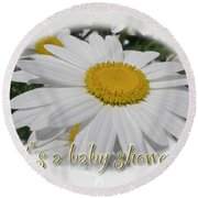 Baby Shower Invitation - Ox Eye Daisy Round Beach Towel