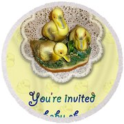 Baby Shower Invitation - Yellow Ducklings Figurine Round Beach Towel