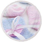 Baby Socks  Round Beach Towel by Elena Elisseeva