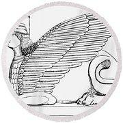 Babylonian Sphinx Round Beach Towel