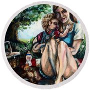 Baby's First Picnic Round Beach Towel