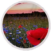 Bachelor Buttons And Poppies Round Beach Towel