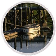 Back At The Harbor Round Beach Towel