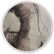 Back Torso - Sketch Of A Female Nude Round Beach Towel