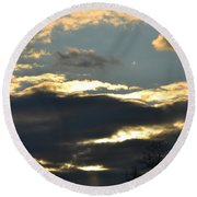 Backlit Clouds Round Beach Towel