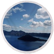 Backside Of Crater Lake Round Beach Towel