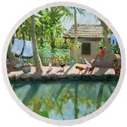 Backwaters India  Round Beach Towel