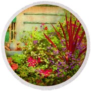 Backyard Flower Garden Round Beach Towel