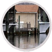 Backyard Waterway Round Beach Towel