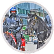 Badges And Horses Round Beach Towel