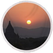 Bagan Temples At Sunset II Round Beach Towel
