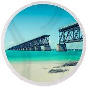 Bahia Hondas Railroad Bridge  Round Beach Towel