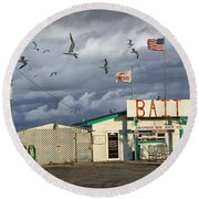 Bait Shop By Aransas Pass In Texas Round Beach Towel