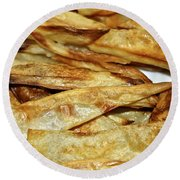 Baked Potato Fries Round Beach Towel
