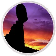 Balanced Rock Sunset Arches Nat.park Round Beach Towel