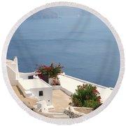Balcony Oia Santorini Greek Islands Round Beach Towel