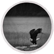 Bald Eagle Take Off Series 3 Of 8 Round Beach Towel