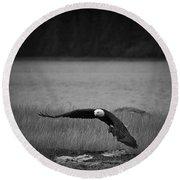 Bald Eagle Take Off Series 4 Of 8 Round Beach Towel