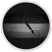 Bald Eagle Take Off Series 5 Of 8 Round Beach Towel